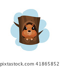 Cute hamster sitting in hollow of tree, hollowed out old tree and funny animal inside vector 41865852