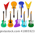 Acoustic and electric guitars set, musical instruments of various colors vector Illustrations on a 41865923