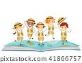 Stickman Kids Story Book Explorer Illustration 41866757