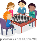 Stickman Kids Chess Club Practice Illustration 41866799