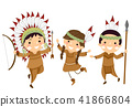 Stickman Kids Indian Hunting Tools Illustration 41866804