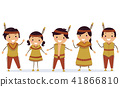 Stickman Kids Native American Indian Illustration 41866810