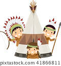 Stickman Kids Native American Tent Illustration 41866811