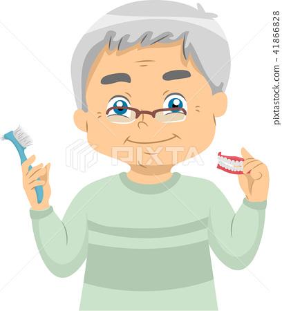 Senior Man Dentures Toothbrush Illustration 41866828