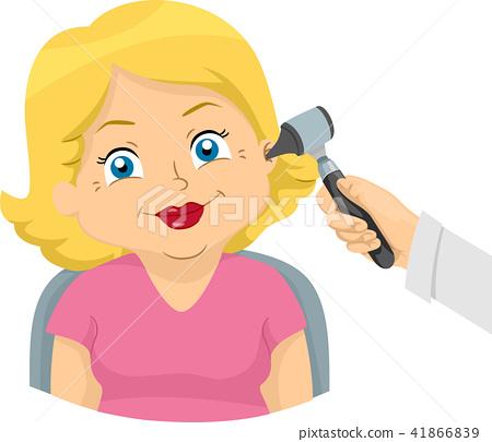 Senior Woman Ear Hearing Check Up Illustration 41866839