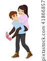 Teen Couple Piggyback Ride Illustration 41866857