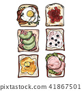 Set of toasts breakfast on white background. 41867501