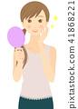 鏡子 手拿鏡 成熟的女人 41868221