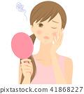 ผู้หญิงที่สนใจเรื่องสิวโดยดูจากกระจกส่องทาง 02 41868227