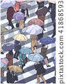 City crowd in bad weather crossing zebra umbrella 41868593