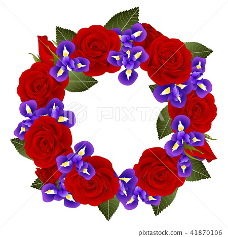Red Rose and Iris Flower Wreath 41870106