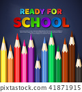 Ready for school paper cut style letters with realistic colorful pencils. Blackboard background 41871915