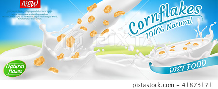Vector package design of cornflakes in milk 41873171