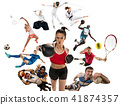 Sport collage about kickboxing, soccer, american football, basketball, badminton, taekwondo, tennis 41874357