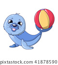 Walrus with ball icon, cartoon style 41878590