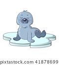 Walrus on ice icon, cartoon style 41878699