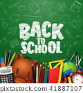 Back to School with school supplies and doodles on 41887107