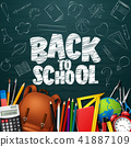 Back to School with school supplies and doodles on 41887109