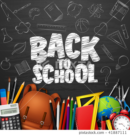 Back to School with school supplies and doodles on 41887111