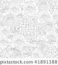 Rose, Hydrangea and Ranunculus Background. 41891388