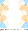 Orange Rose, Blue Hydrangea and Ranunculus Border 41891390