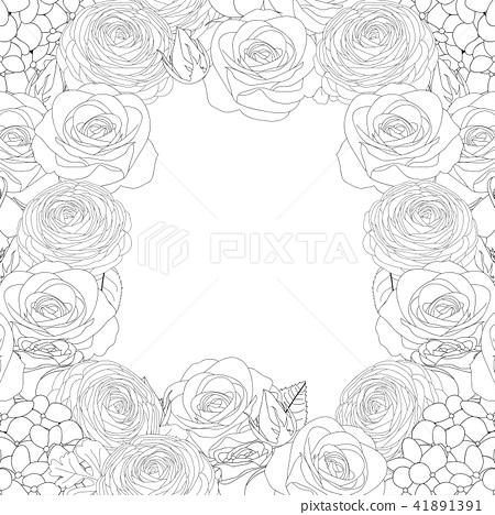 Rose, Hydrangea and Ranunculus Outline Border 41891391
