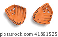 3d rendering of two left handed orange baseball gloves lying on a white background in a top view. 41891525