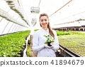 woman, greenhouse, florist 41894679