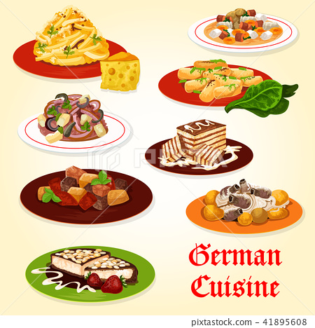 German cuisine icon of bavarian dinner with cake 41895608