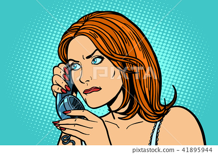 serious Woman talking on the phone. Emotions. 41895944