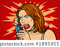 angry Woman talking on the phone. Emotions. 41895955