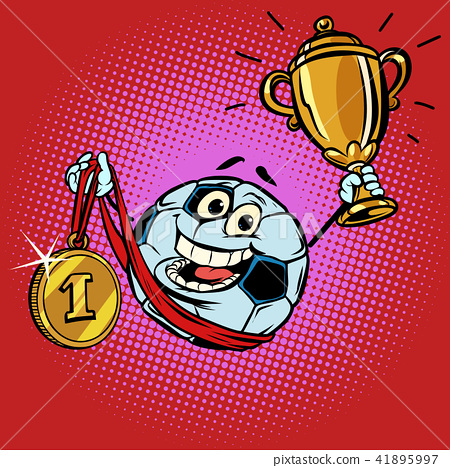 Winner champion Cup first place gold medal. Character soccer bal 41895997