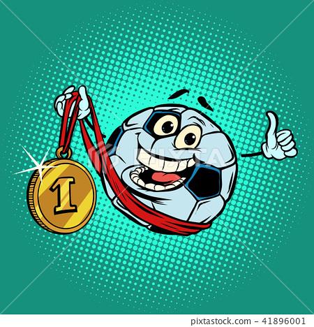 Winner first place gold medal. Character soccer ball football 41896001
