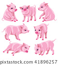 Set of Pink Micro Pigs in Moving 41896257