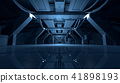 Abstract Blue Sci Fi Futuristic Interior Design Corridor.3D Rendering. 41898193