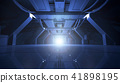 Abstract Blue Sci Fi Futuristic Interior Design Corridor.3D Rendering. 41898195