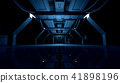 Abstract Blue Sci Fi Futuristic Interior Design Corridor.3D Rendering. 41898196