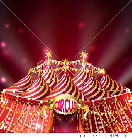 Vector red background with striped circus tent 41900356