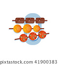 Sweet rice dessert dango, traditional japanese sweets on the plate vector Illustration on a white 41900383