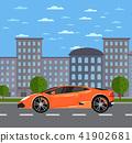Luxury sports car in urban landscape 41902681