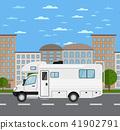 Modern camper van in urban landscape 41902791