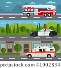 Fire truck, police and ambulance car on highway 41902834