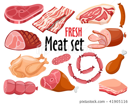 Meat set vector. Fresh meat icons set. 41905116