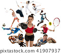 Sport collage about kickboxing, soccer, american football, basketball, badminton, taekwondo, tennis 41907937