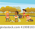 Multiracial children wearing orange vests collect rubbish for recycling, Kids gathering plastic 41908163