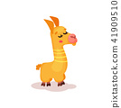 Funny llama alpaca cartoon character vector Illustration on a white background 41909510