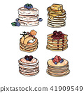 Set of pancakes with different toppings. 41909549