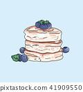 Vector pancakes illustration on pastel background. 41909550