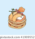Vector pancakes illustration on pastel background. 41909552