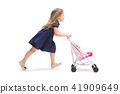 Smiling cute toddler girl three years running over white background 41909649
